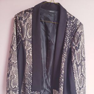 MBLM Black and Beige Faux Snake Women's Blazer XXL
